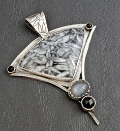 Sterling Silver Pinolith Gray Moonstone and Rose Cut by BWBJewelry, $195.00