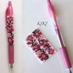 Done - my cherry flowers pen cover For G2 pen by Pilot This pattern is available at: www.kikisbeads.com/cherryflowers #beaded #geometric #floral #flowery #cherryflower #inspired #beaded wrap #pencover #beadwork #peyote #mydesign #gift #unique #handmade #g2 #pen #designofmine #peyotestitch #beads #handmade #handmadegift #mydesign #penwrap #g2pen #peyotestitched #beadpattern #mydesign #beadaddict #seedbeads #delica #miyukibeads #seedbeads #cherryblossom #cherryflowers