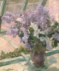 """Lilacs in a Window"" 1880 - Mary Cassatt"
