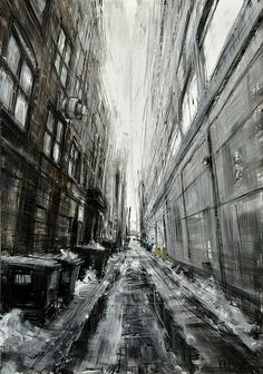 """Saatchi Art is pleased to offer the painting, """"Alley in Chicago,"""" by Valerio D'Ospina. Original Painting: Oil on N/A. Urban Landscape, Landscape Art, Landscape Paintings, Oil Paintings, Skyline Painting, Oil Painting Abstract, Abstract Paper, Wow Art, City Art"""
