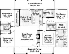Country Style House Plan - 3 Beds 2.5 Baths 1951 Sq/Ft Plan #21-369 Main Floor Plan - Houseplans.com