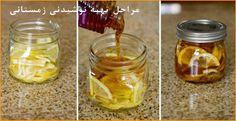 چای زمستانی زنجفیل و لیمو: برشهای لیمو ترش و زنجفیل تازه را در یک ظرف شیشهای بریزید و آنرا به عسل مخلوط کنید. درِ ظرفِ شیشهای را بسته و آنرا در یخچال بگذارید، بعد از مدتی یک مخلوط ژلهای خواهید داشت. در هنگام مصرف یک قاشق غذاخوری از آنرا در یک لیوانِ آب جوش ریخته و بنوشید. ترکیبِ این مخلوط برای دو تا سه ماه در یخچال قابل نگهداری است,زنجفیل یک آنتیاکسیدان قوی و ضد التهاب است که میتواند در پیشگیری و درمان سرماخوردگی بسیار موثر باشد.
