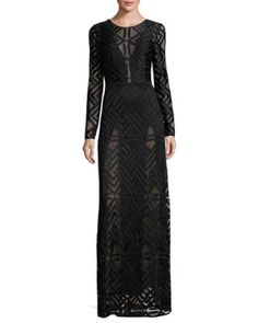 TD22H BCBGMAXAZRIA Veira Long-Sleeve Lace Maxi Dress