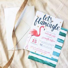 Our Favorite Etsy Bachelorette Invitations | We love this Let's Flamingle flamingo bachelorette weekend invitation. Click to shop it!