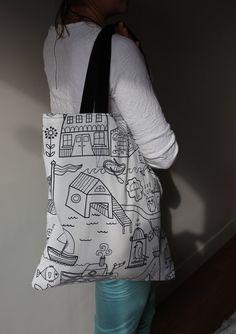 Sac shopping motif enfantin Noir & Blanc 100% coton #totebag #shoppingbag #canvasbag