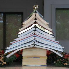 Neesie Natters: A Book Christmas Tree Christmas Tree Made Of Books, Christmas Holidays, White Christmas, School Decorations, Christmas Decorations, Christmas Ornaments, Holiday Decor, Alternative Christmas Tree, Christmas Aesthetic