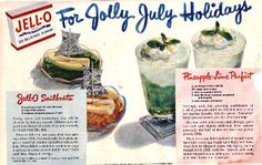 Cute vintage July recipes for jello sailboats and pineapple-lime parfaits