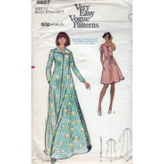 70s Very Easy Vogue sewing pattern 8607, Vintage dress kaftan robe pattern, Bust 34 inches.