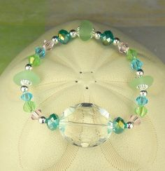 Spring Colors Sea Glass Bracelet With Crystal by BoardwalkBaubles, $24.00