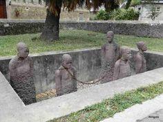 Statues of the Slavery monument in Zanzibar Stone Town, Tanzania, Africa