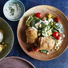Chicken With Blistered Corn and Tomato Salad | Broiling the corn and tomatoes…