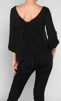 Lily Black Bow Blouse