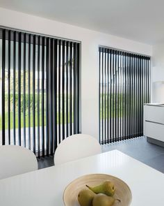 A modern interior with slats- Een modern interieur met lamellen More mature, more modern or cozier. Many interiors receive an upgrade with slats. Also lift your house to a higher level with the vertical slats. Blinds For French Doors, Sliding Door Blinds, Sliding Glass Door, Glass Doors, Modern Blinds, Modern Curtains, Curtains With Blinds, Window Blinds, Patio Blinds