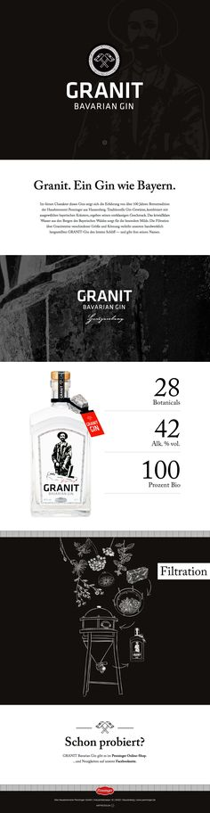 Responsive one pager to promote 'Granit' - a new Gin product of a traditional Bavarian distillery. Love how to-the-point the page is with minimal clutter. A little crit would be to make the bottom links to the online shop stand out more by using the red in the scheme - or a button I guess. Good reference as well to a neat way of loading up the 'imprint' section in a hidden footer.