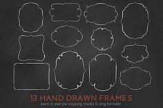 hand drawn digital frames 12 digital psd and png