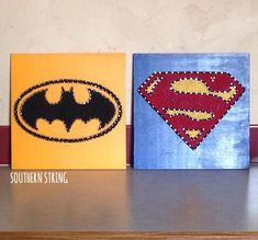 Superman and Batman string art. #SuperHeroes See more or send me a message for a board of your own on IG at @southern.string!