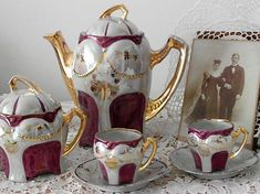 Antique Victorian Mocha Set Chocolate Set - Hand Painted Porcelain with Gold Gilt - Burgundy panels on white ground - Chocolate pot, cups & saucers, sugar bowl - Circa 1800s - 19th century porcelain - Could be used as a coffee pot teapot