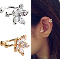 1PC Women's Fashion Cz Crystal Flower U Shape Ear Cuff Clip on No Piercing Earring ER770 ER771-in Clip Earrings from Jewelry on Aliexpress.com | Alibaba Group