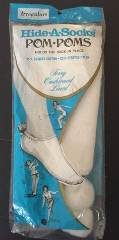 New Vintage Hide a Sock Pom Poms Terry Cushioned Lined White Tennis Irregulars #RussellHosiery #PomPoms