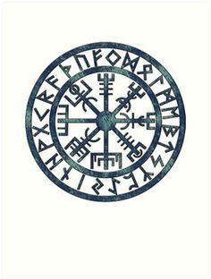Vegvísir (Icelandic 'sign post') Symbol - BLUE GRUNGE