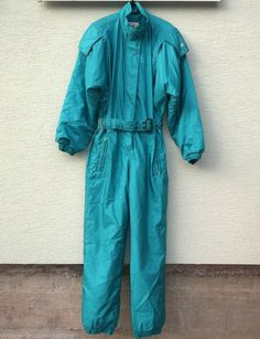 f7c50321a9 Vintage BELFE SKI SUIT Onesie Snowsuit Ladies Medium UK 12 Green Turquoise  Italy