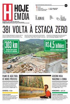 Capa do dia 09/06/2016 #HojeEmDia #Jornal #Notícias #News #Newspaper