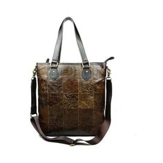 Lixmee women floral print leather cross body tote bag ($80) ❤ liked on Polyvore featuring bags, handbags, tote bags, leather tote bags, leather totes, leather crossbody purses, cross-body handbag and brown leather tote