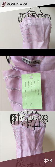 Pale lilac silk sequined top new Emporio Armani Wow!! 100% silk cropped spaghetti straps sequin detail Emporio Armani Emporio Armani Tops Crop Tops
