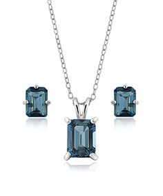 Look at this London Blue Topaz Emerald-Cut Pendant Necklace & Earrings on #zulily today!