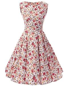 Ensnovo 50s Vintage Style Rockabilly Swing Picnic Evening Party Cocktail Dress Rose 1X - Brought to you by Avarsha.com