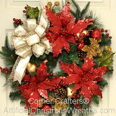Christmas Elegance Wreath - 2014 - Gorgeous poinsettias, pine cones, and berries nestled amongst mixed pine branches will add a charming elegance to any home. #ChristmasPoinsettiaWreath