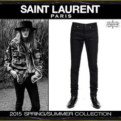 SAINT LAURENT PARIS(サンローランパリ)2015SS ブラック ストレッチスキニーデニムパンツ 15.5cm376906 Y869H 1000@54000
