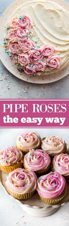 to pipe beautifully unique frosting roses the easy way!How to pipe beautifully unique frosting roses the easy way! Frosting Recipes, Cake Recipes, Dessert Recipes, Cake Frosting Designs, Cake Frosting Tips, Piping Frosting, Cake Frosting Recipe, Cake Decorating Tutorials, Cookie Decorating