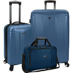 US Traveler 3Piece Spinner and Boarding Bag Luggage Set Blue >>> You can get more details by clicking on the image.