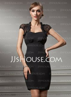 Cocktail Dresses - Sheath Sweetheart Knee-Length Chiffon Lace Cocktail Dress (016021212) http://jjshouse.com