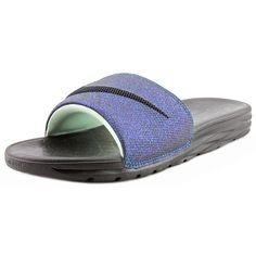 Nike Benassi Solarsoft Slide 2 Women Slide Sandals ($57) ❤ liked on Polyvore featuring shoes, sandals, black, nike, kohl shoes, nike footwear, pull on shoes y black slip-on shoes