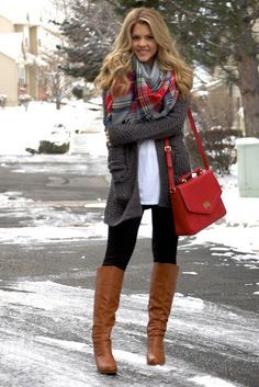 Casual with Pops of Red for the Holidays - Gray MB LS Open Cardigan from Target, Gap white Drapey Tee, black leggings, gray and red scarf, brown boots