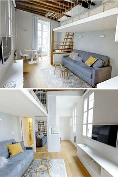 Stunning studio on Paris' left bank. Check out this amazing Lodgis apartment! Design Room, Loft Design, House Design, Design Design, Small Room Bedroom, Bedroom Loft, Bed Room, Mezzanine Bedroom, Living Room Interior