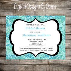 Printable Wedding Shower Invitation Damask by DigitalDesignsByDawn
