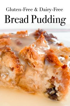 This easy to make bread pudding has a delicious vanilla sauce to pour over the top. This is a delicious comfort food to serve family and friends. It's gluten-free, dairy-free and made with low sugar. Gluten Free Lasagna, Gluten Free Diet, Lactose Free, Gluten Free Desserts, Dairy Free Recipes, Paleo Dessert, Easy Desserts, Keto Recipes, Fudge