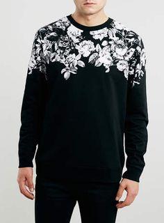 Black Floral Printed Neck Sweatshirt - Men's Hoodies & Sweats - Clothing