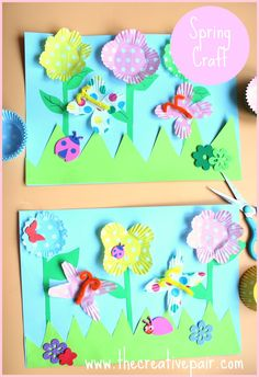 spring crafts for kids ** 3D flowers & butterflies from cupcake liners.
