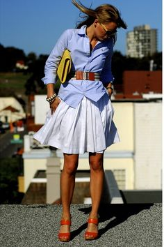 Look To Try: white skirt, blue men's shirt, brown accessories