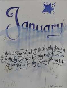 """January Calligraphy Poem, watercolor on paper 8""""x10"""", 2014, V. Atkinson."""