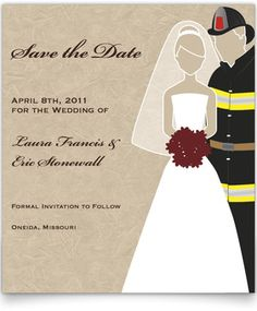 Save the Date Cards - Public Works Themed - Fireman