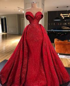 Red prom dresses long sleeve party dresses 2020 detachable train evening dresses sparkly evening gowns abiye - my store new arrival dresses Red Lace Prom Dress, Prom Dresses Long With Sleeves, Long Prom Gowns, Formal Dresses, Dress Long, Party Dresses, Dress Red, Red Wedding Dresses, Pageant Gowns