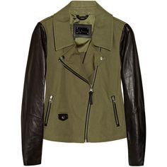 Mackage Debora cotton-canvas and leather biker jacket ($324) ❤ liked on Polyvore featuring outerwear, jackets, coats, tops, army green, leather sleeve jacket, brown jacket, lightweight motorcycle jacket, biker jacket and moto jacket