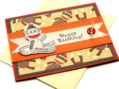 Boy Bday Cards - Bday Cards For Kids - Sock Monkey Birthday - Sock Monkey Cards - 1st Birthday - Cute Birthday Card - Greetings Cards