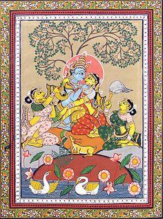 Krishna Admiring Radha - Folk Art Paintings (Orissa Pattachitra Painting on Tussar Silk - Unframed) Mysore Painting, Kerala Mural Painting, Krishna Painting, Indian Artwork, Indian Folk Art, Indian Art Paintings, Indian Traditional Paintings, Indian Contemporary Art, Traditional Art