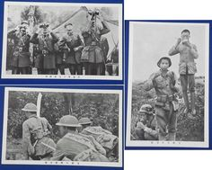 1930's Sino Japanese War time Postcards : Photos of Chinese Army Officers & Soldiers, 日中戦争 中国軍 / vintage antique old Japanese military war art card / Japanese history historic paper material Japan 兵士 支那事変